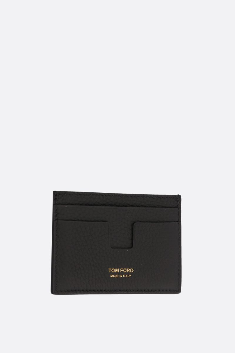 TOM FORD: T-line card case in grainy leather Color Black_2