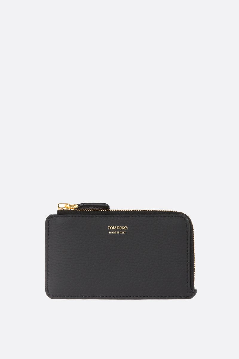 TOM FORD: grainy leather half-zip wallet Color Black_1