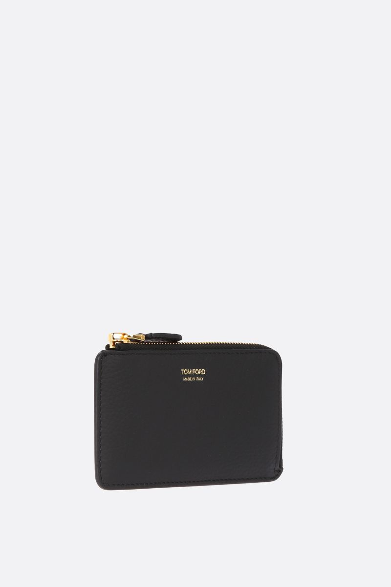 TOM FORD: grainy leather half-zip wallet Color Black_2