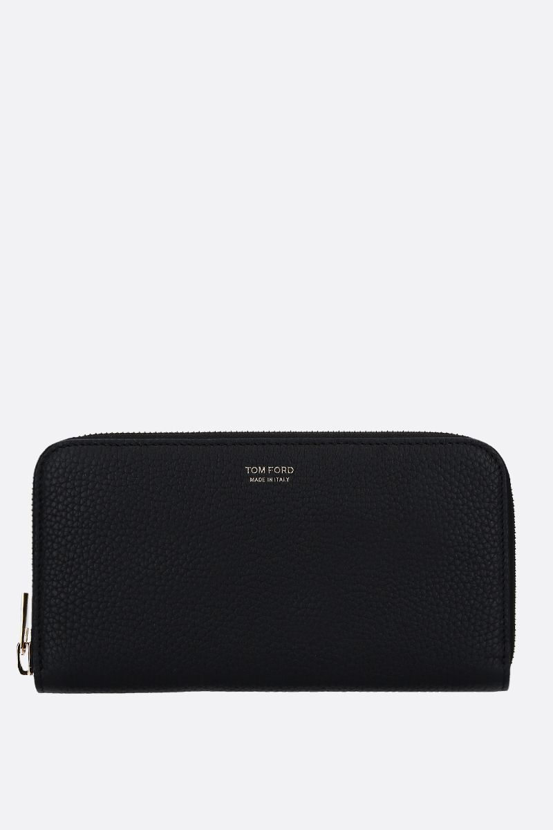 TOM FORD: grainy leather zip-around wallet Color Black_1