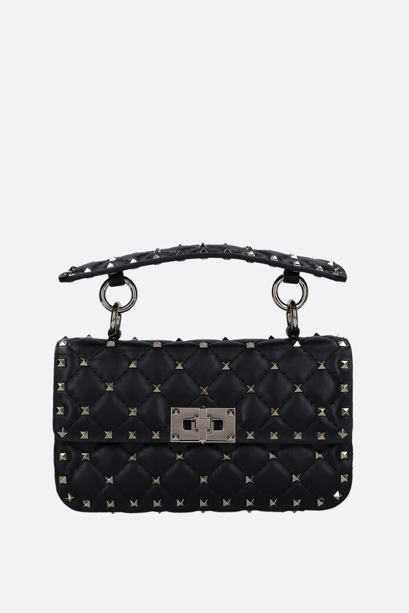 VALENTINO GARAVANI: Rockstud Spike small chain bag in quilted nappa Color Black_1