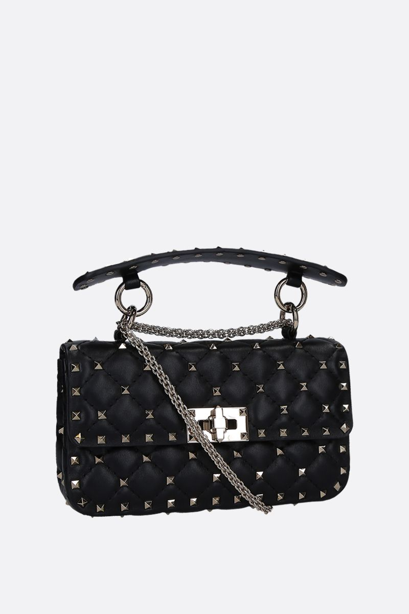 VALENTINO GARAVANI: Rockstud Spike small chain bag in quilted nappa Color Black_2
