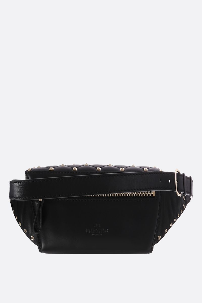 VALENTINO GARAVANI: Rockstud Spike belt bag in quilted nappa Color Black_3