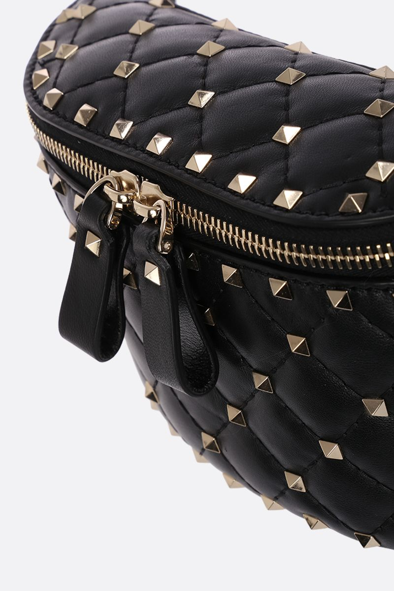 VALENTINO GARAVANI: Rockstud Spike belt bag in quilted nappa Color Black_4