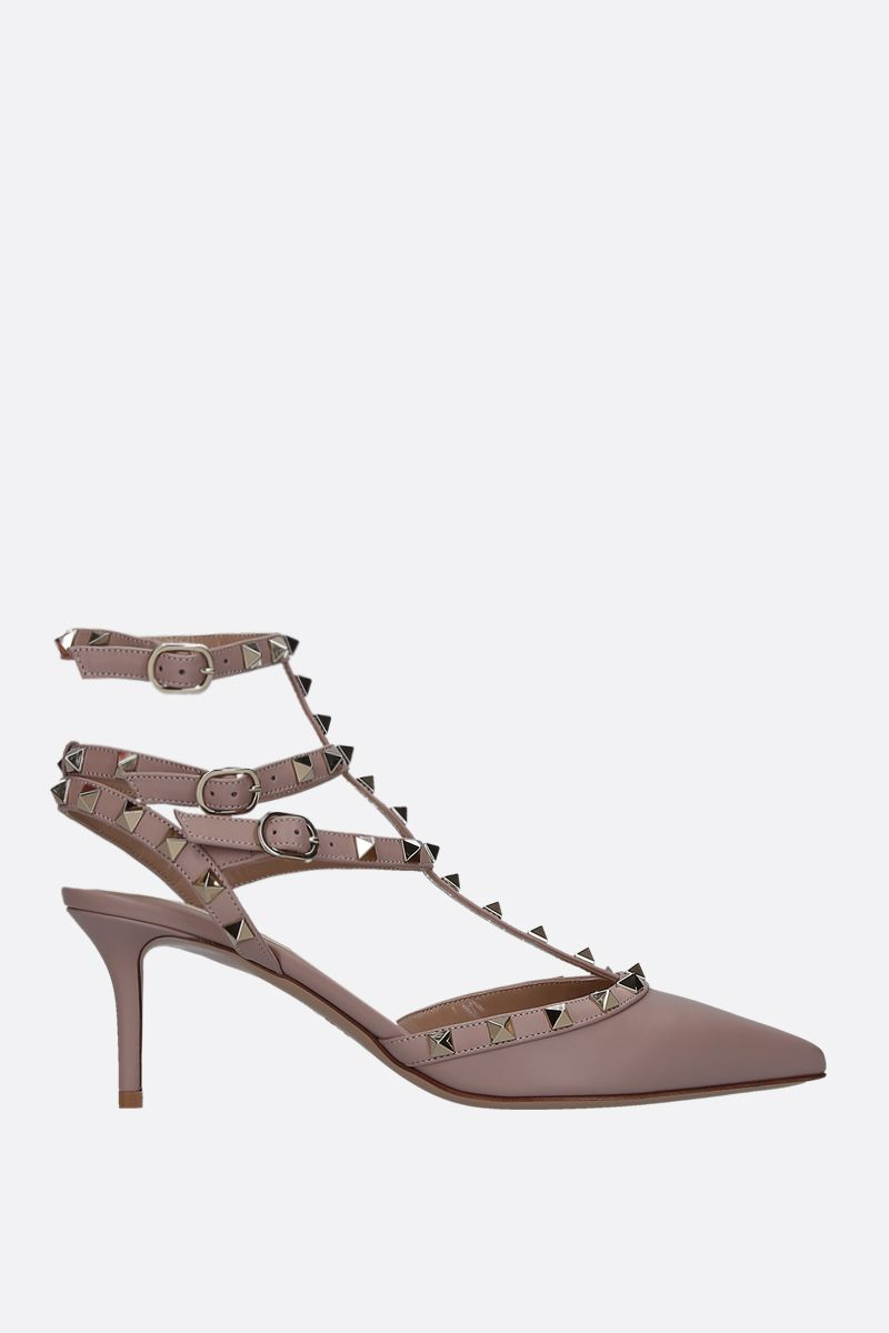 VALENTINO GARAVANI: Rockstud slingbacks in smooth leather Color Neutral_1