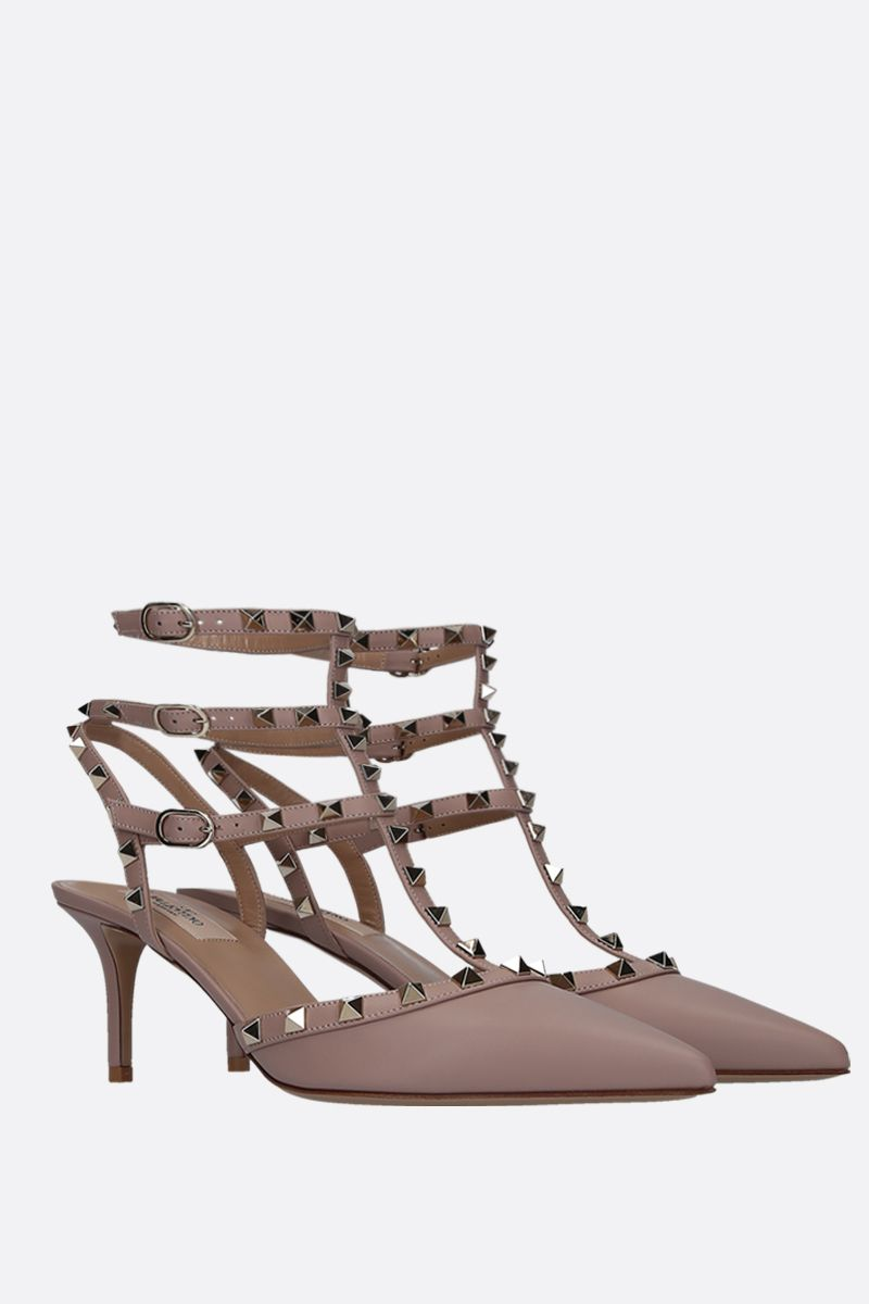 VALENTINO GARAVANI: Rockstud slingbacks in smooth leather Color Neutral_2