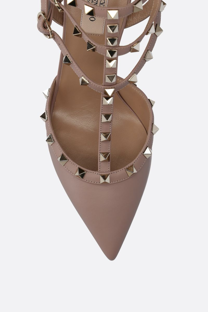 VALENTINO GARAVANI: Rockstud slingbacks in smooth leather Color Neutral_4