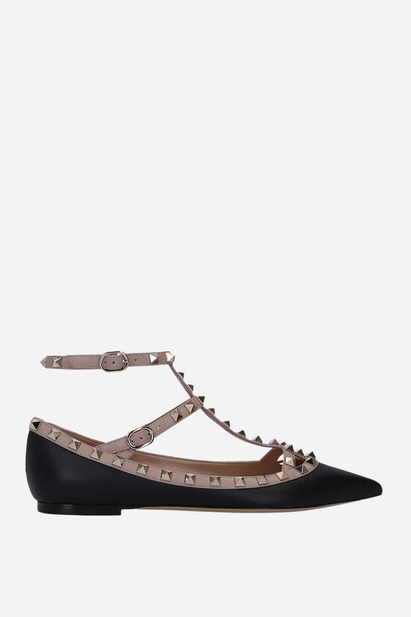 VALENTINO GARAVANI: Rockstud ballerinas in smooth leather Color Black_1