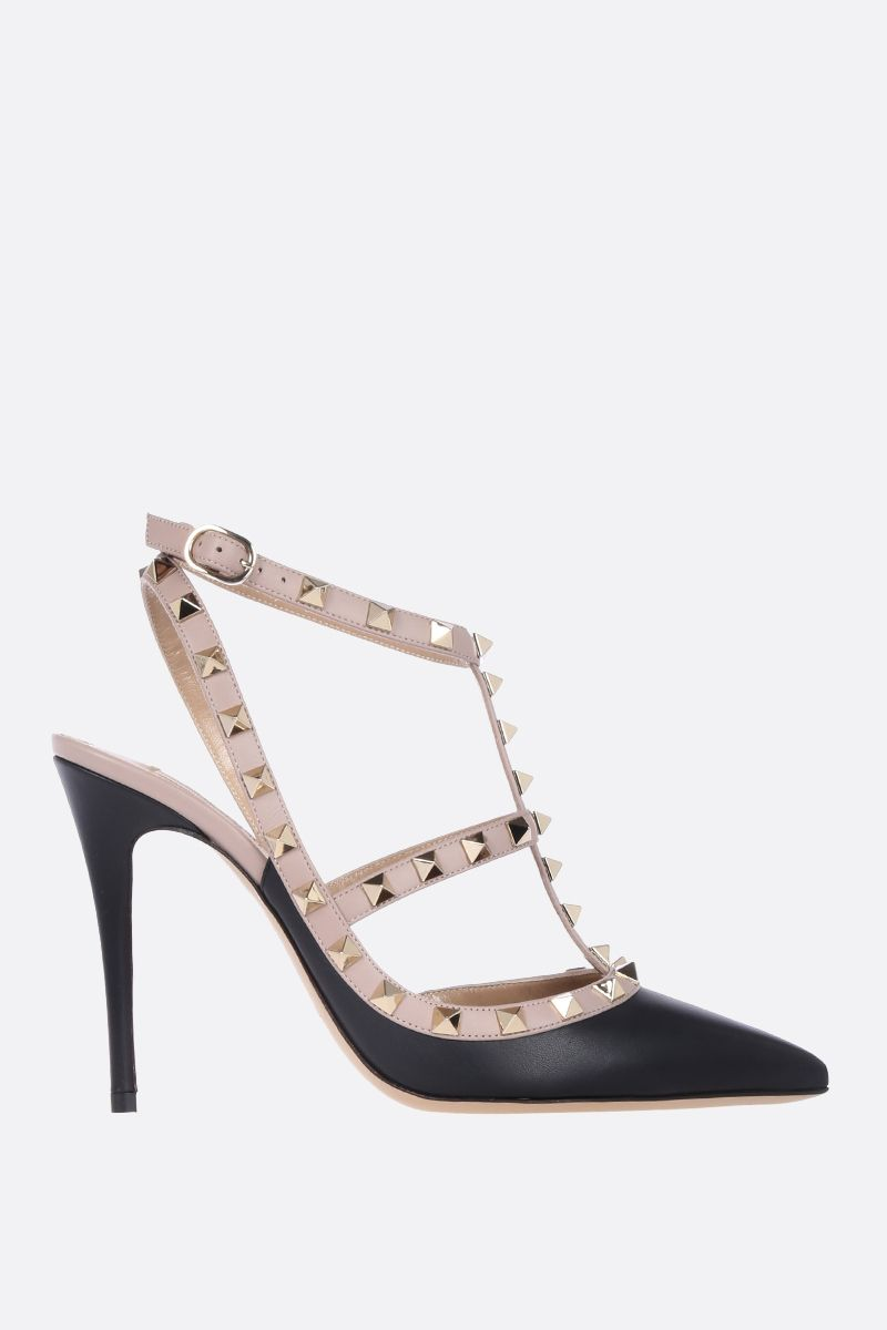 VALENTINO GARAVANI: Rockstud slingbacks in smooth leather Color Black_1