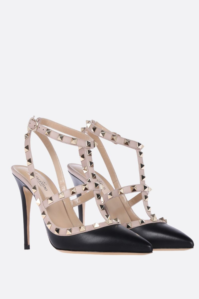 VALENTINO GARAVANI: Rockstud slingbacks in smooth leather Color Black_2