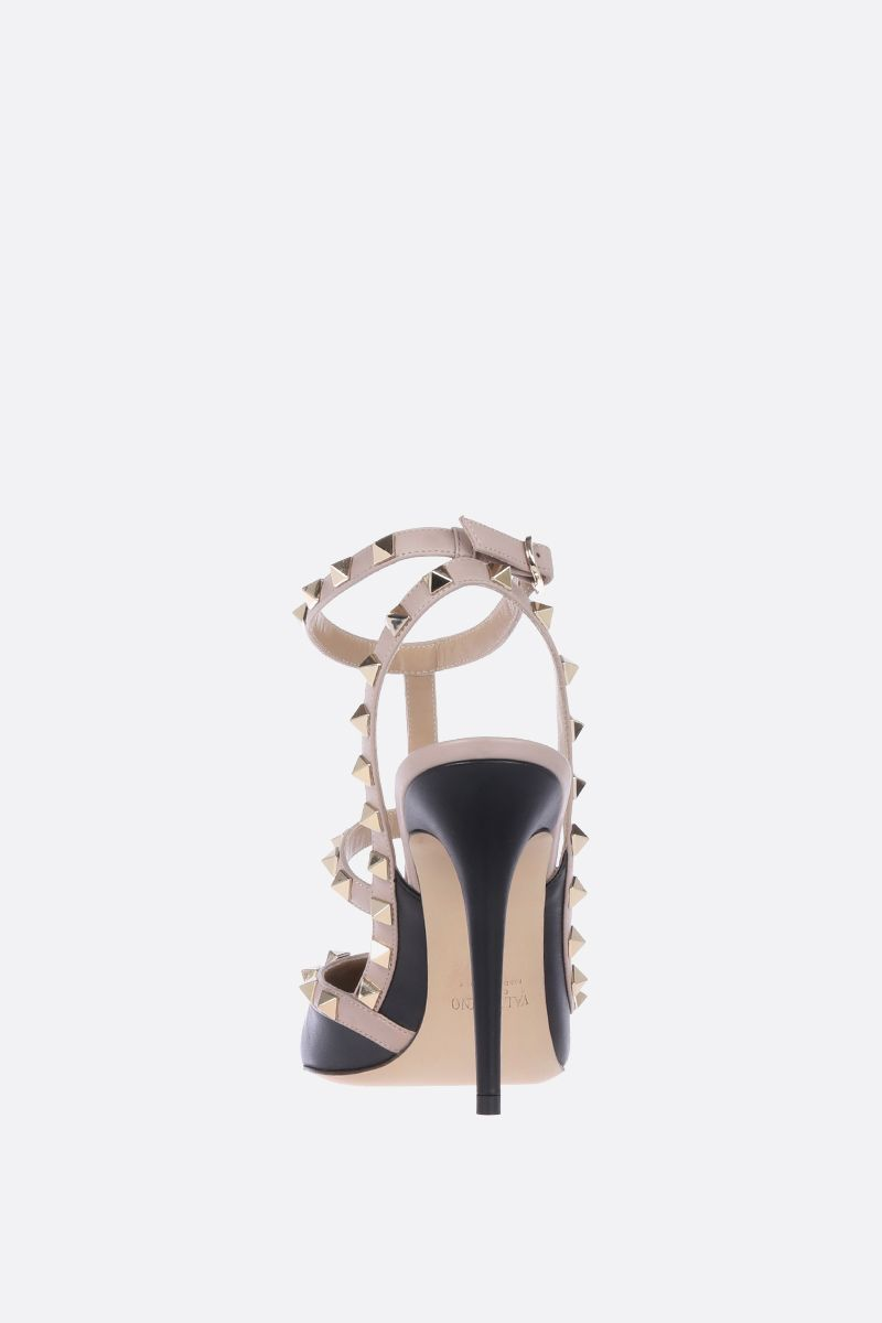 VALENTINO GARAVANI: Rockstud slingbacks in smooth leather Color Black_3