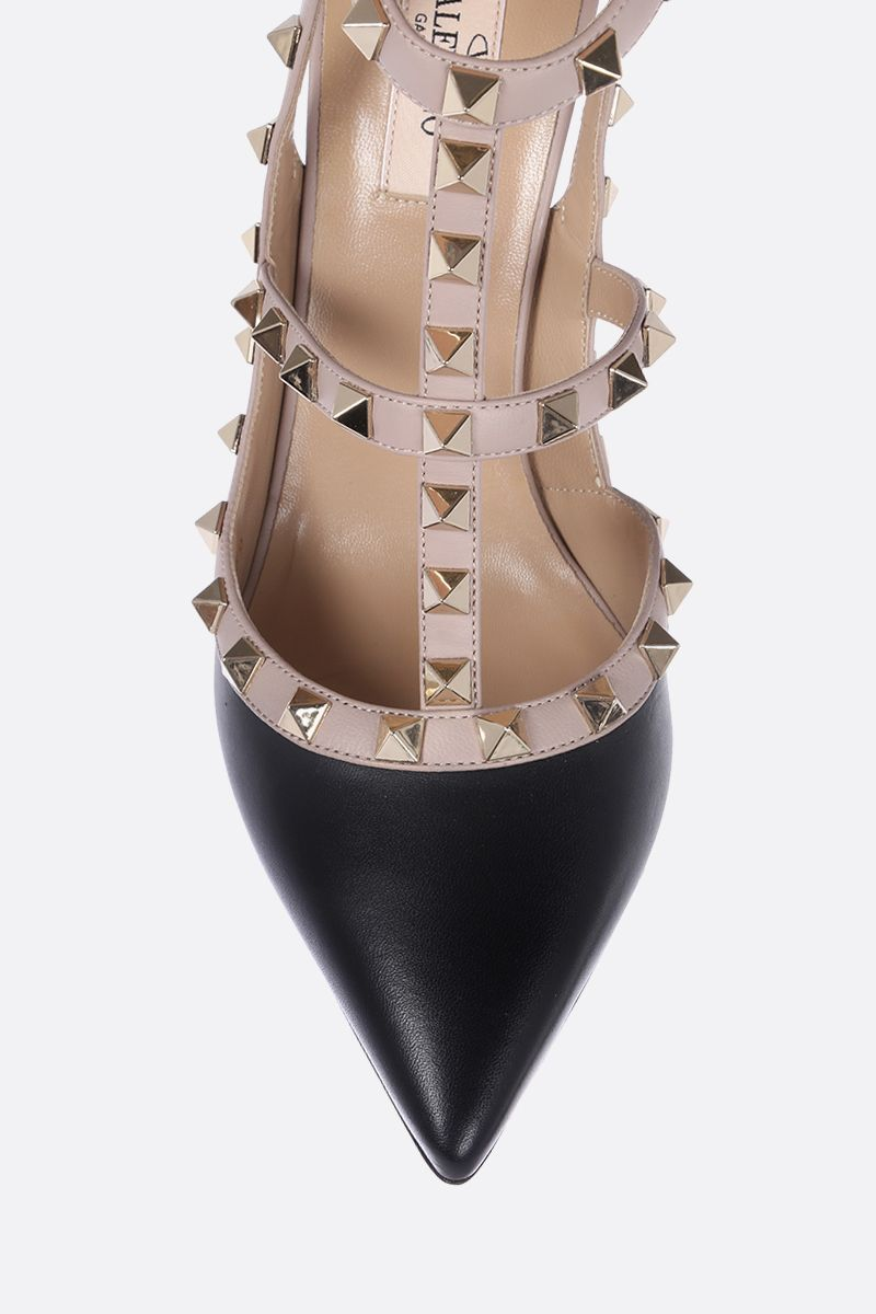VALENTINO GARAVANI: Rockstud slingbacks in smooth leather Color Black_4