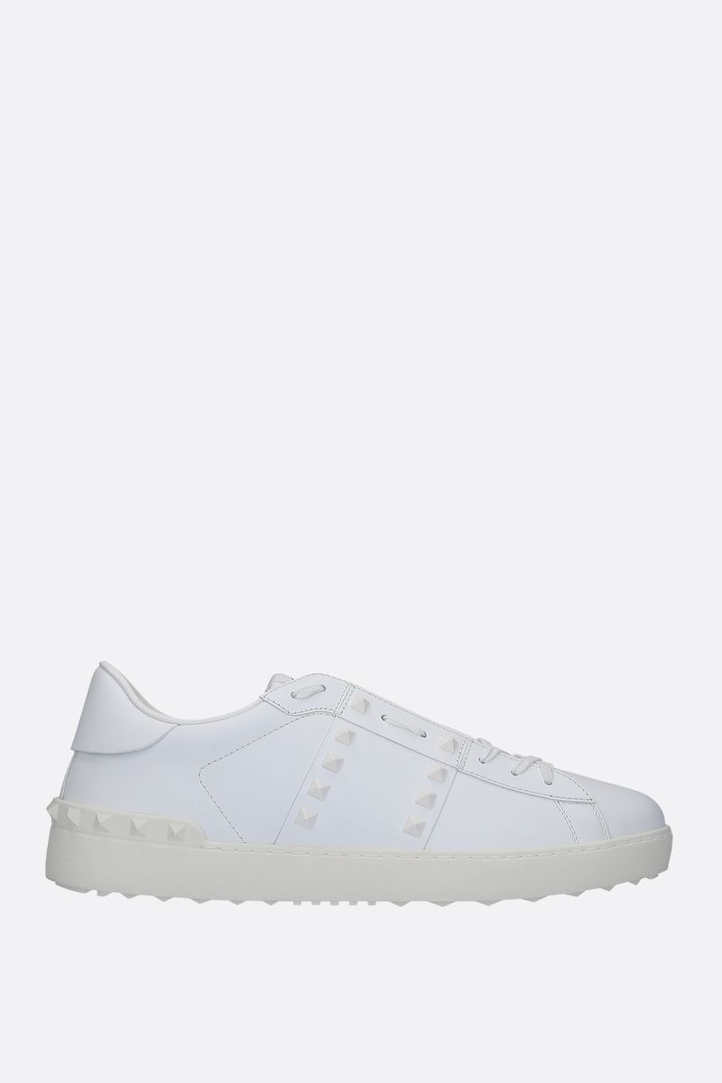VALENTINO GARAVANI: Rockstud Untitled sneakers in smooth leather Color White_1