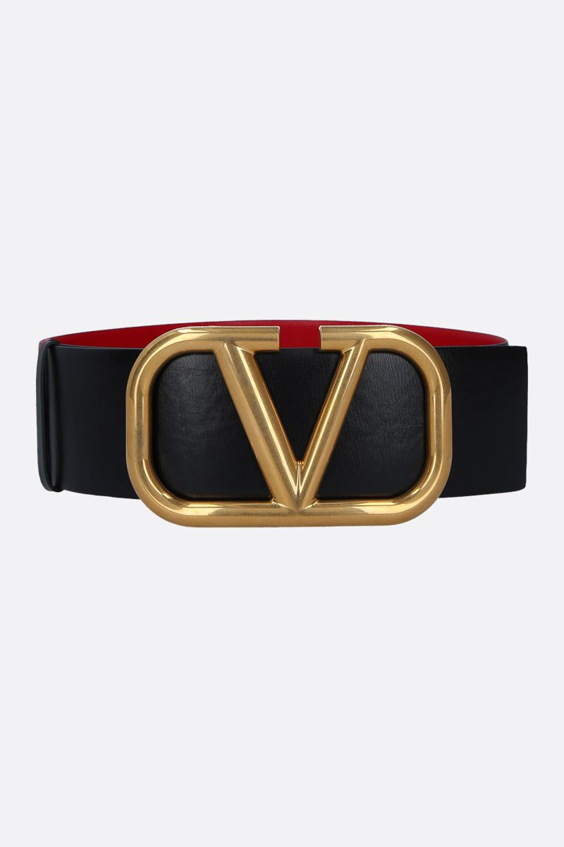 VALENTINO GARAVANI: VLOGO shiny leather reversible belt Color Black_1