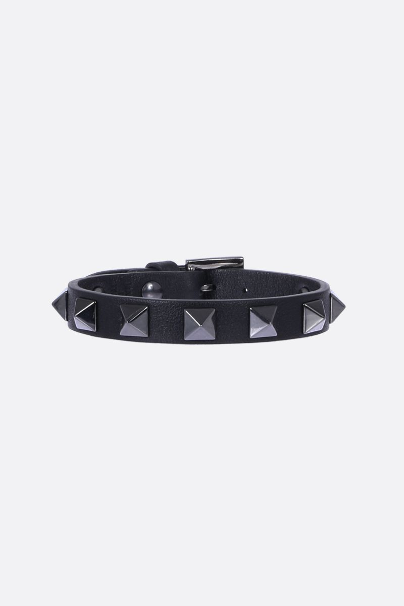 VALENTINO GARAVANI: Rockstud bracelet in smooth leather Color Black_1