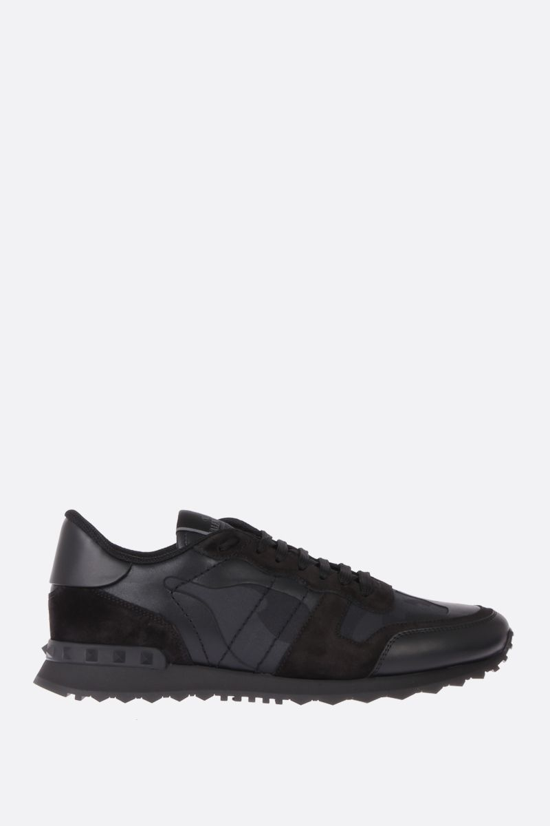 VALENTINO GARAVANI: Rockrunner Noir sneakers in fabric and nappa Color Black_1