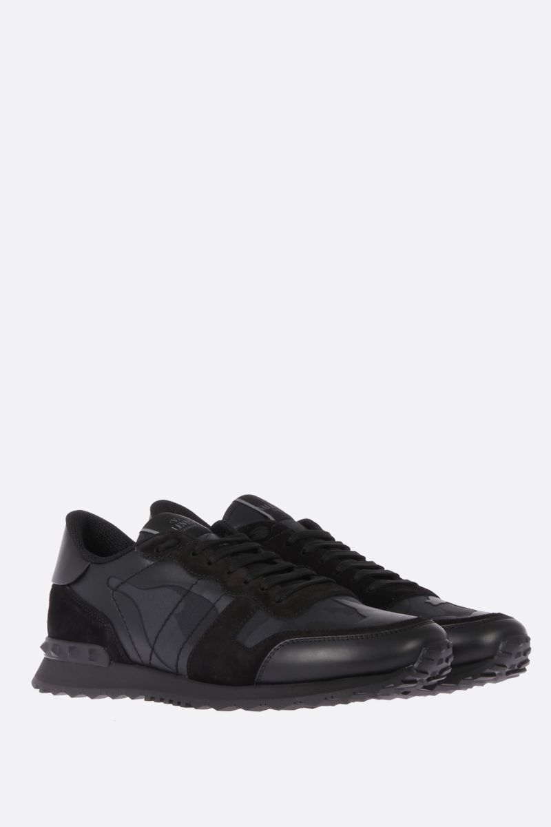 VALENTINO GARAVANI: Rockrunner Noir sneakers in fabric and nappa Color Black_2