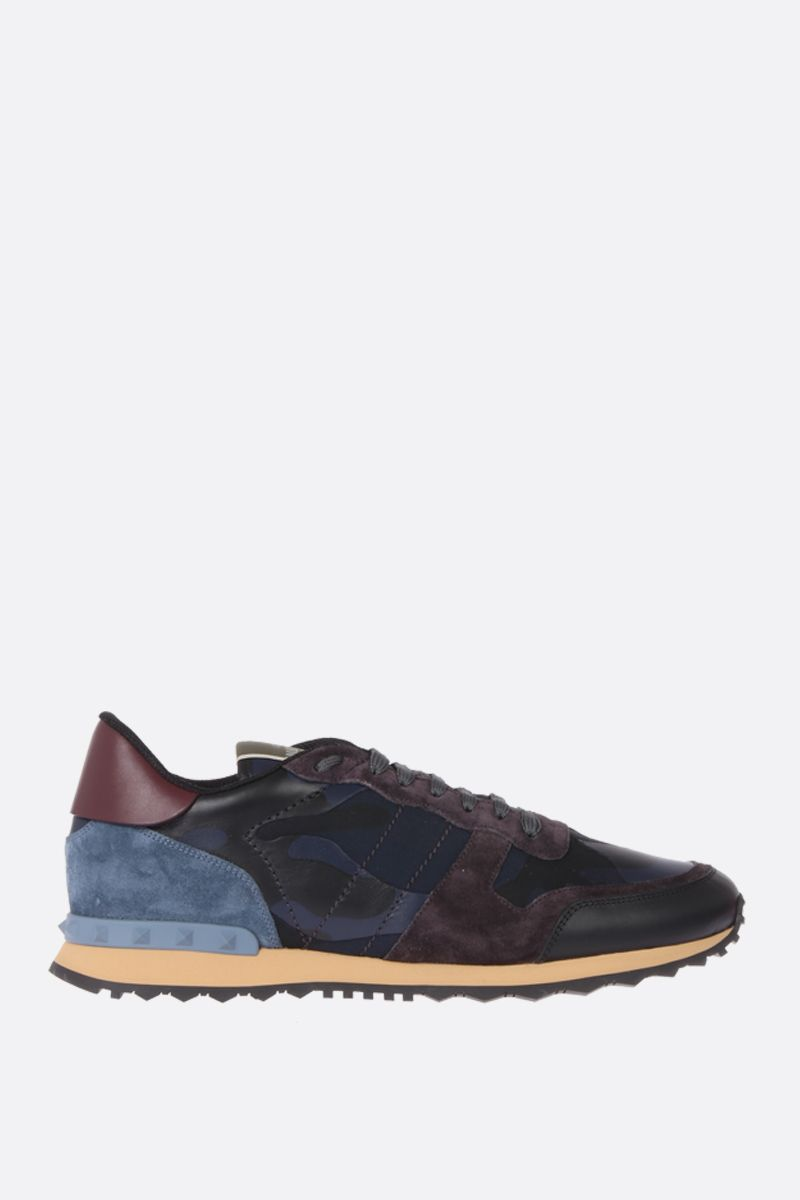 VALENTINO GARAVANI: Rockrunner sneakers in fabric and nappa Color Blue_1