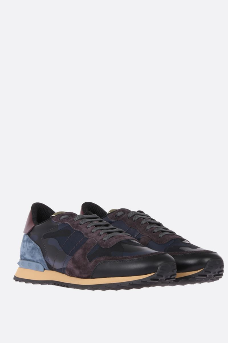 VALENTINO GARAVANI: Rockrunner sneakers in fabric and nappa Color Blue_2