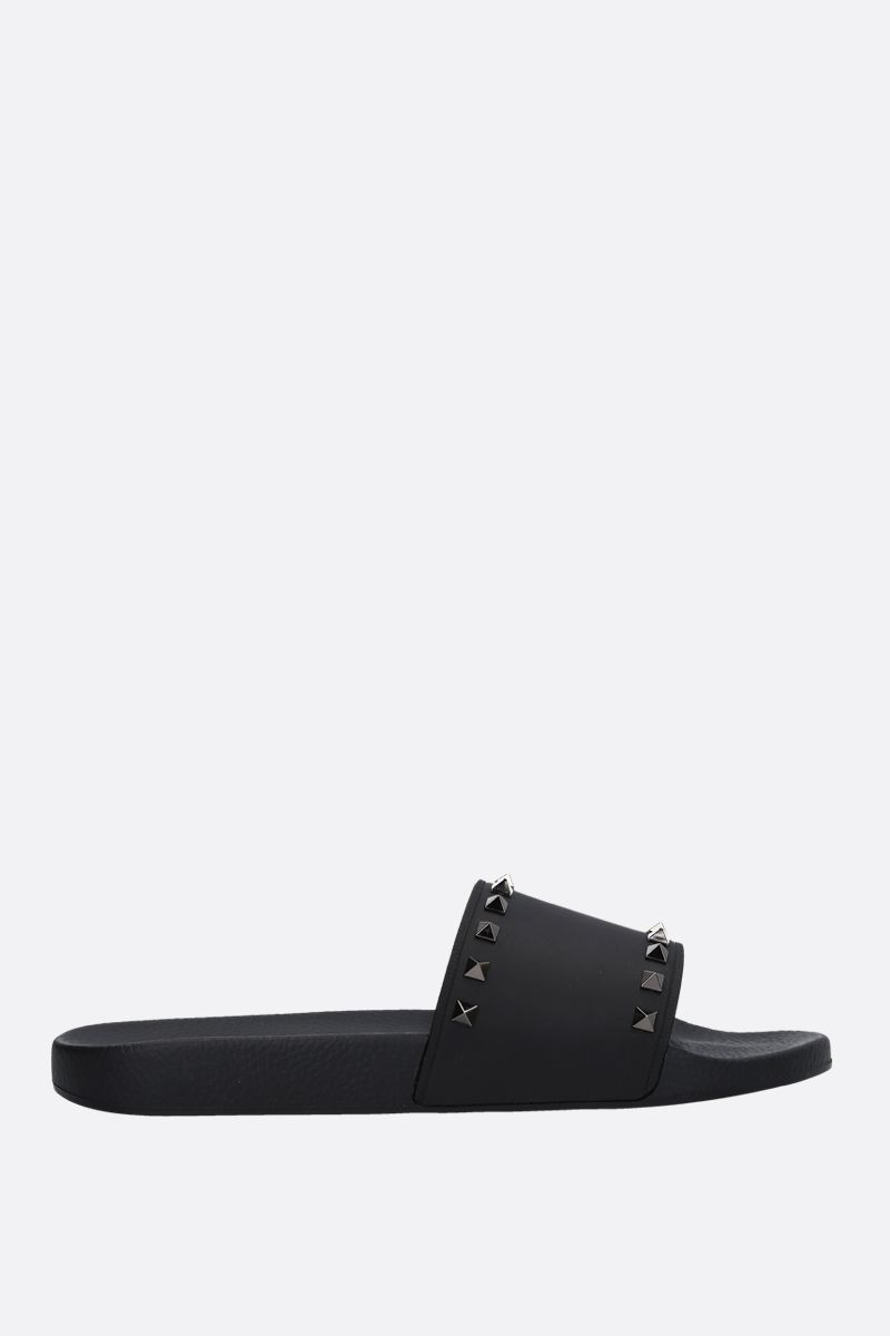 VALENTINO GARAVANI: Rockrunner rubber slide sandals Color Black_1