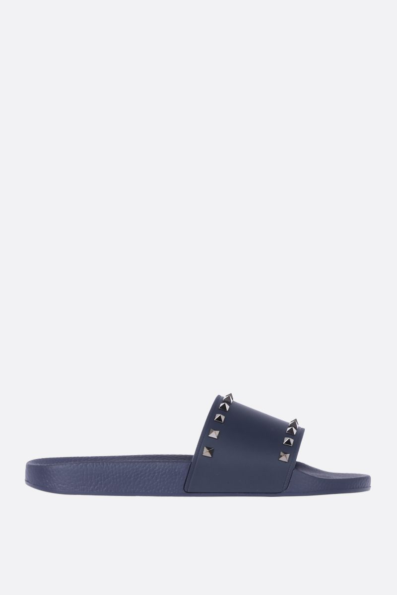 VALENTINO GARAVANI: Rockstud rubber slide sandals Color Blue_1