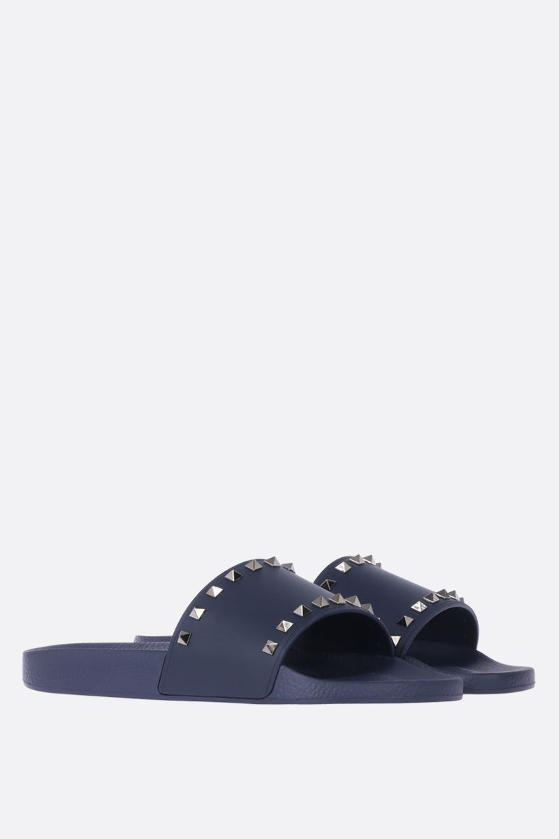 VALENTINO GARAVANI: Rockstud rubber slide sandals Color Blue_2