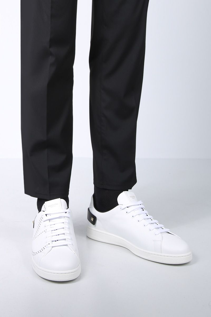 VALENTINO GARAVANI: Backnet sneakers in smooth leather Color White_2