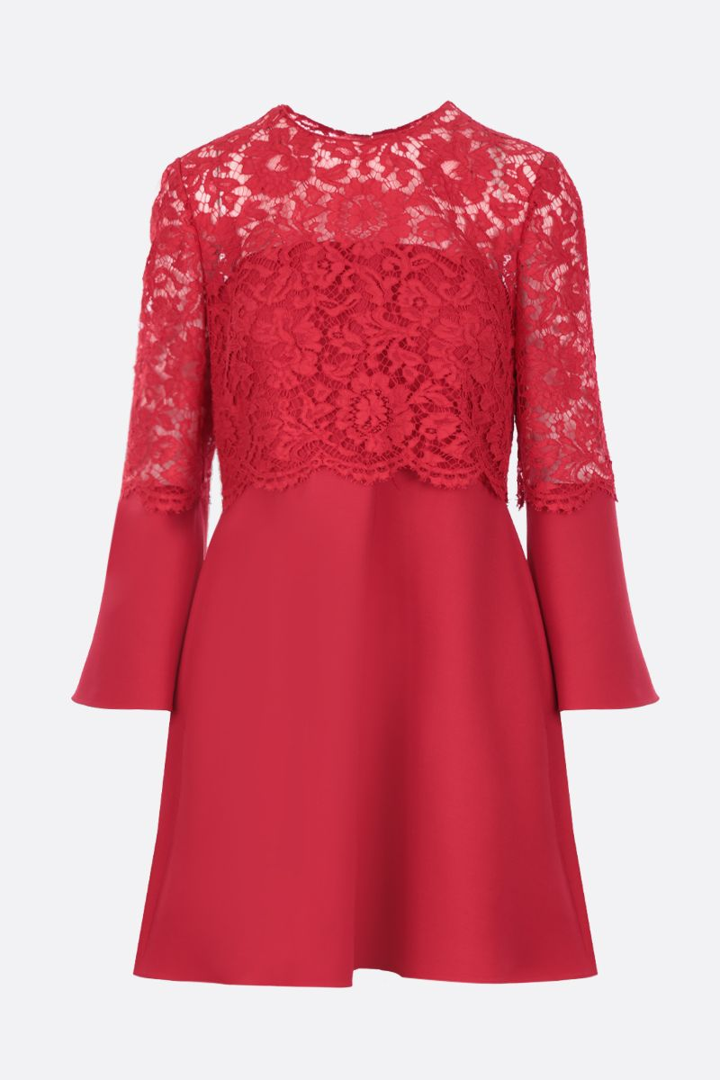 VALENTINO: Crepe Couture short dress with Heavy Lace insert Color Red_1
