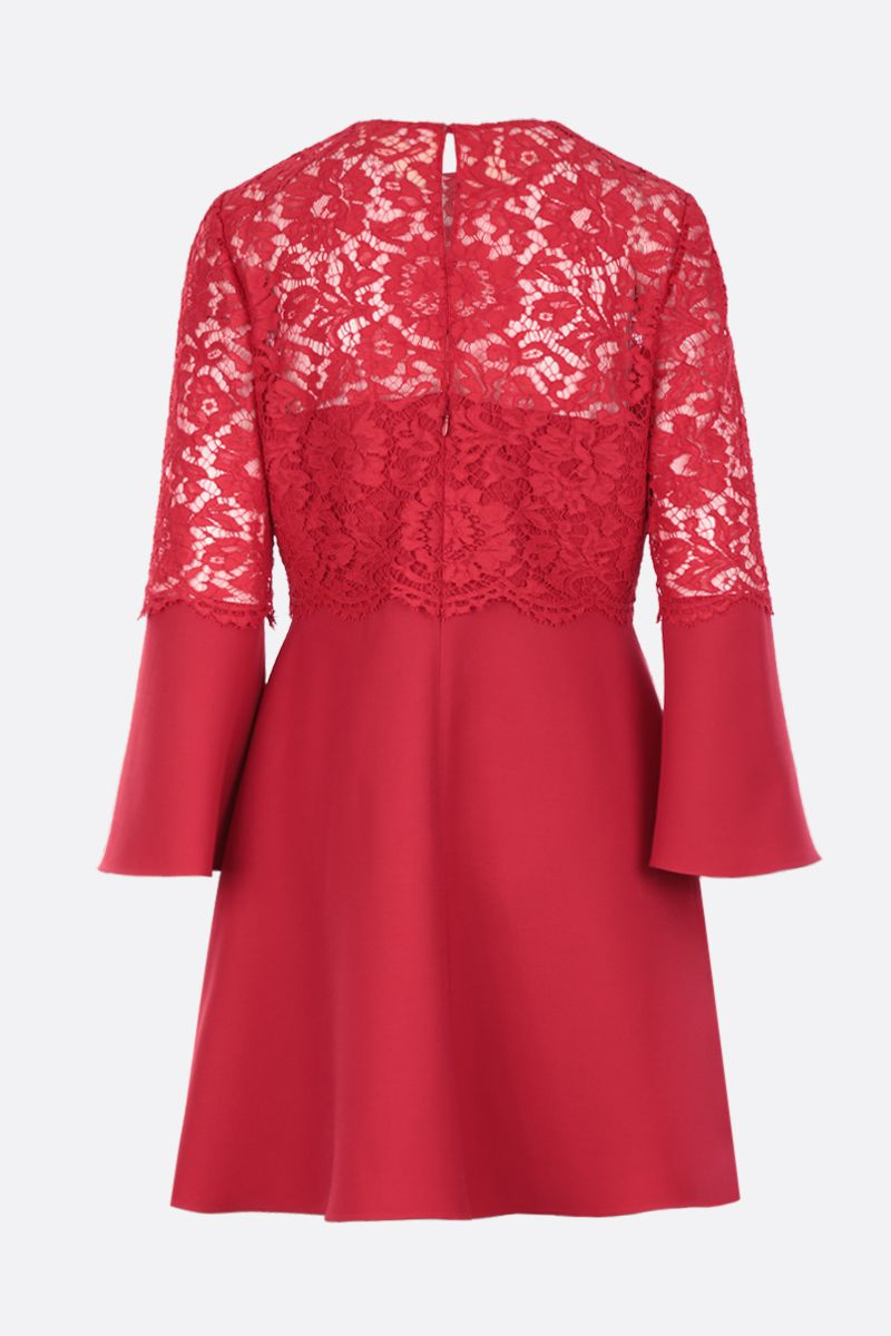 VALENTINO: Crepe Couture short dress with Heavy Lace insert Color Red_2
