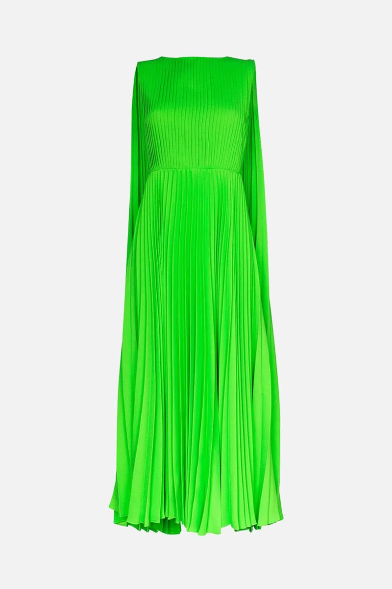 VALENTINO: crepe envers satin pleated dress Color Green_1