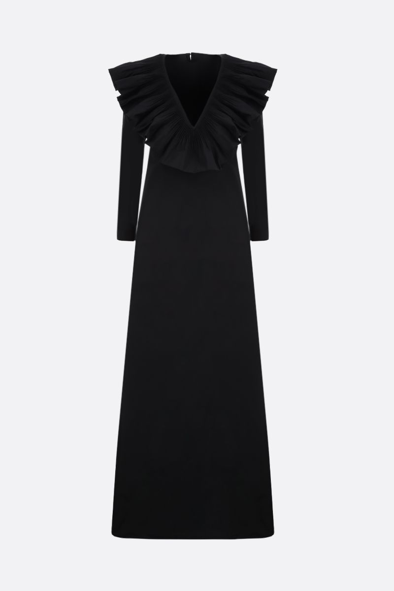 VALENTINO: ruches-detailed faille long dress Color Black_1