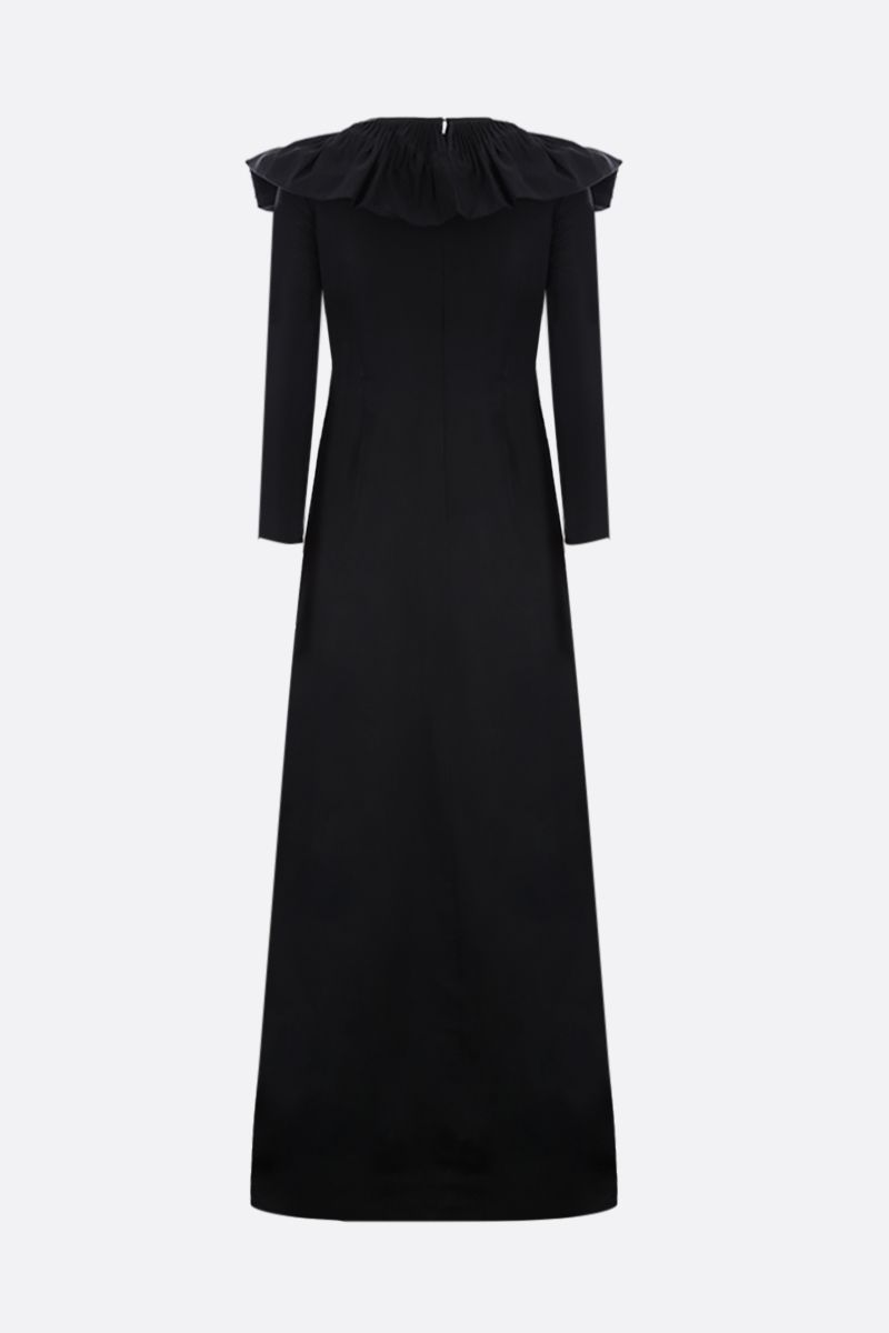 VALENTINO: ruches-detailed faille long dress Color Black_2