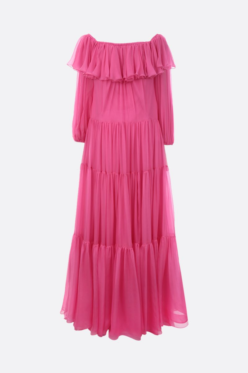 VALENTINO: silk flounced long dress_1