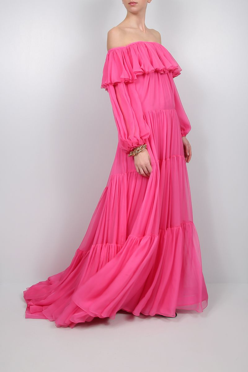 VALENTINO: silk flounced long dress_2