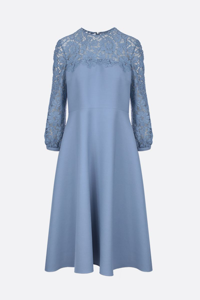 VALENTINO: Crepe Couture midi dress with Heavy Lace inserts Color Blue_1