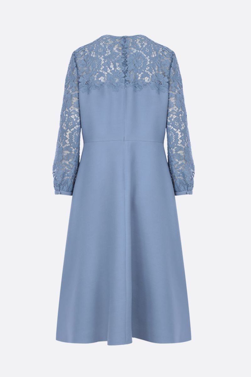 VALENTINO: Crepe Couture midi dress with Heavy Lace inserts Color Blue_2