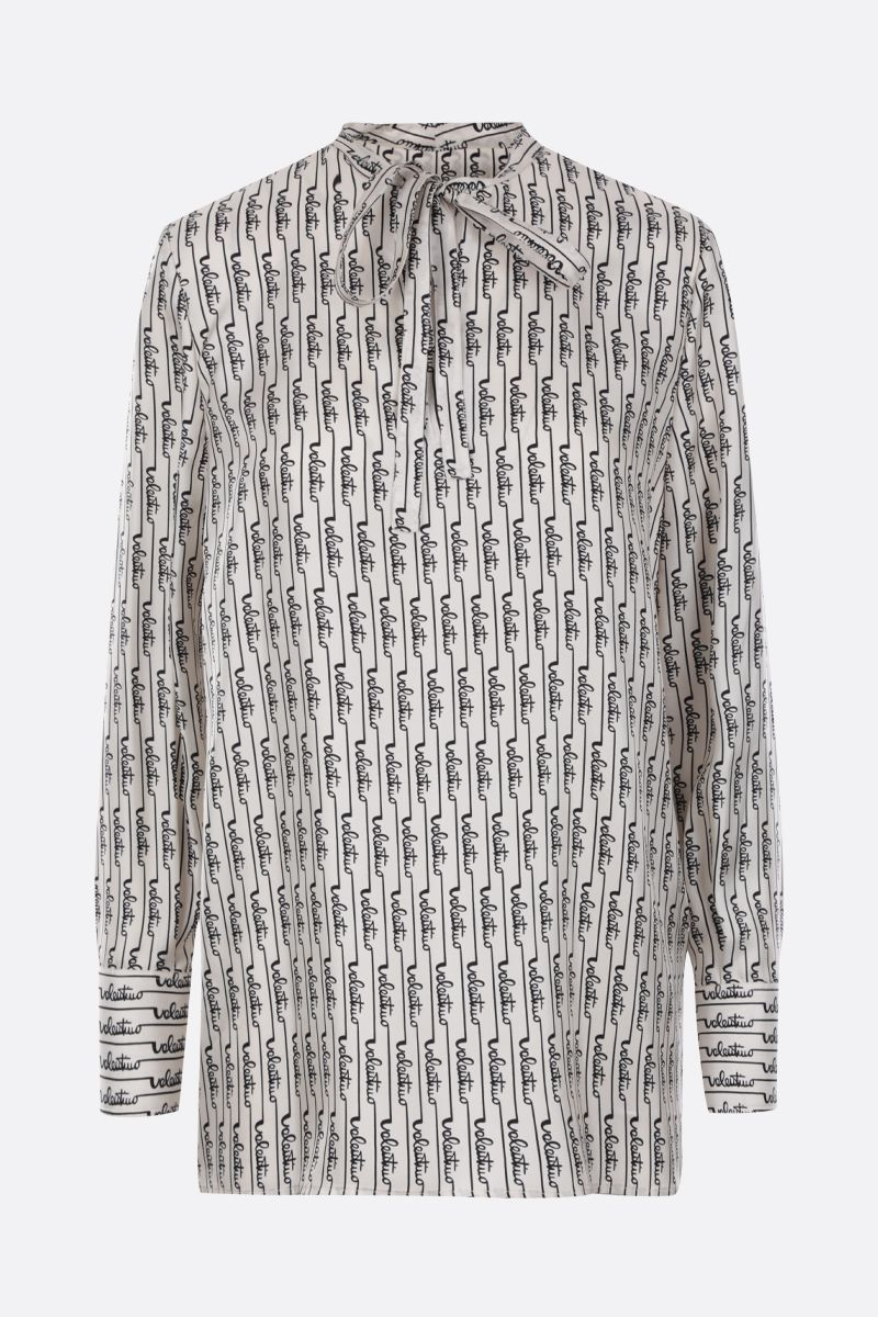 VALENTINO: Signature Stripes printed silk blouse Color Neutral_1
