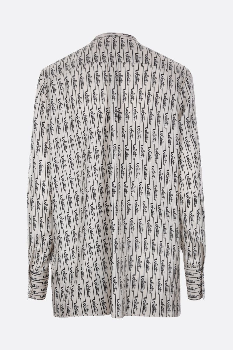 VALENTINO: Signature Stripes printed silk blouse Color Neutral_2
