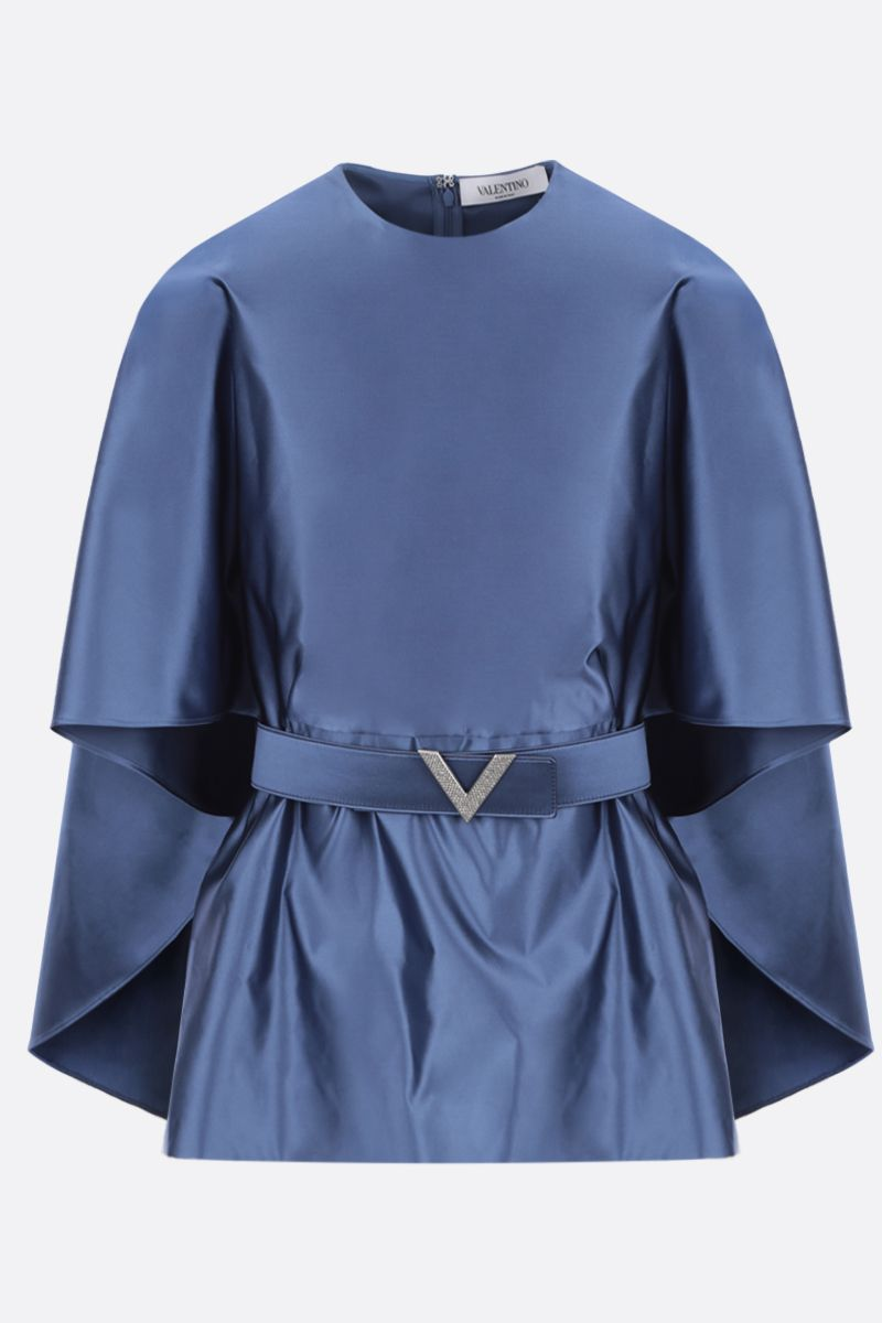 VALENTINO: duchesse cape-blouse Color Blue_1
