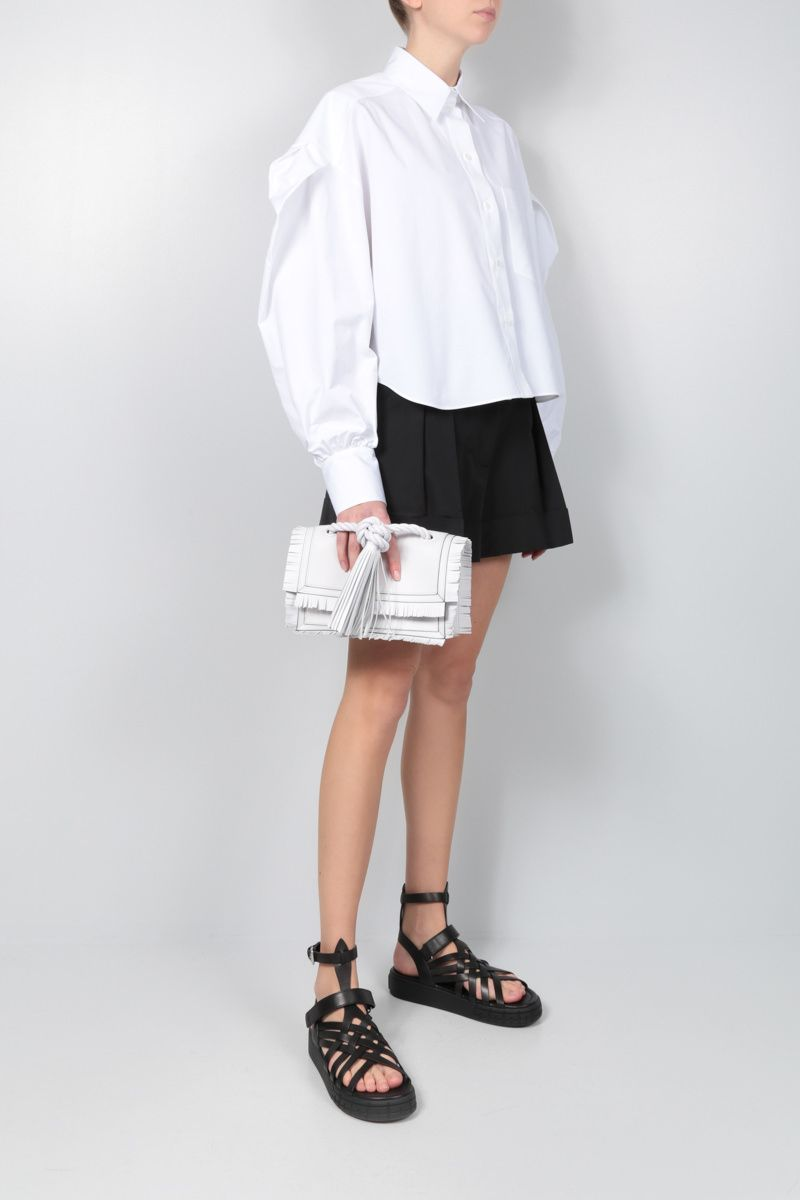 VALENTINO: cotton cropped shirt Color White_2