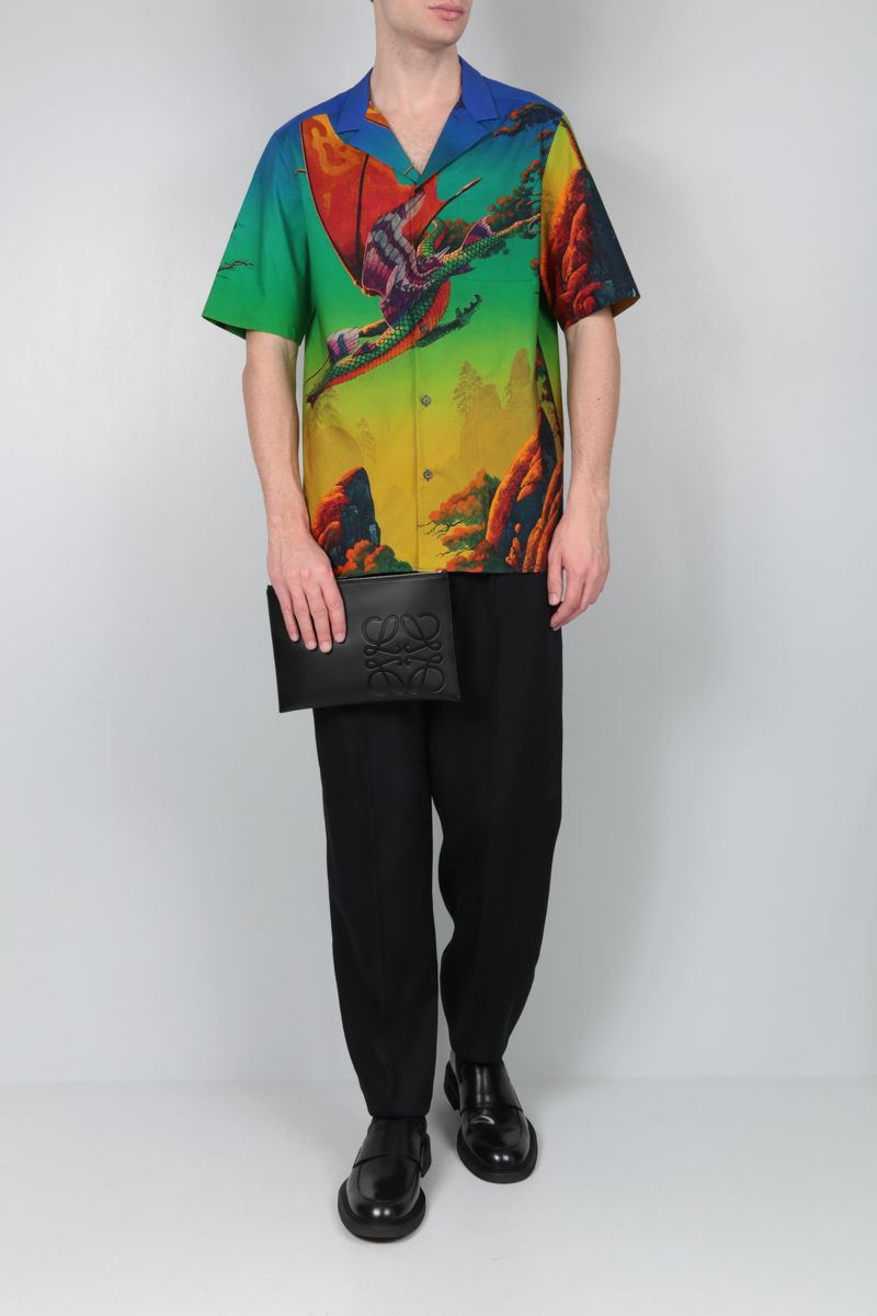 VALENTINO: Dragon at Dawn cotton bowling shirt_2