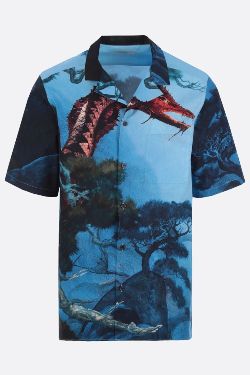 VALENTINO: Dragons Garden cotton bowling shirt_1