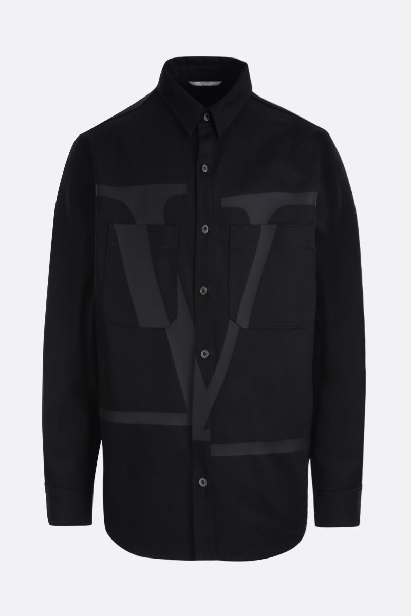 VALENTINO: VLOGO print denim overshirt Color Black_1