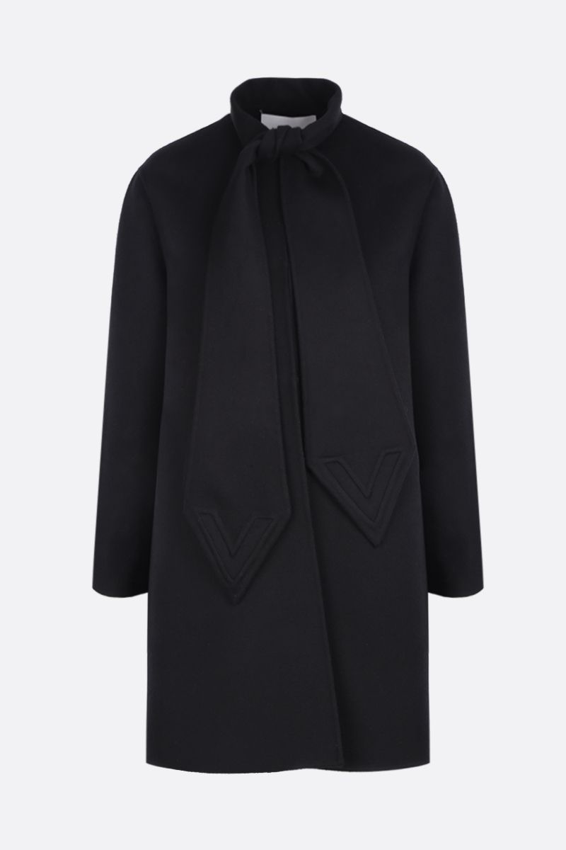 VALENTINO: single-breasted coat in Compact wool Color Black_1