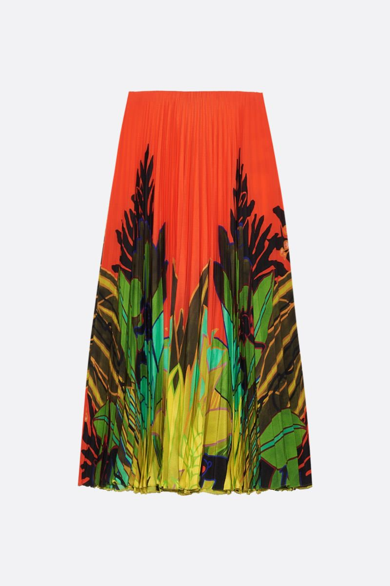 VALENTINO: Mirrored Monkeys Forest print silk pleated skirt_1