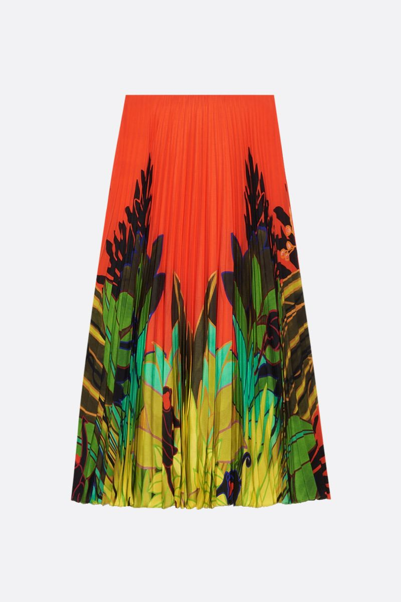 VALENTINO: Mirrored Monkeys Forest print silk pleated skirt_2