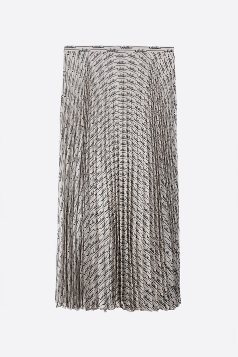 VALENTINO: Signature Stripes print silk pleated skirt Color Neutral_1