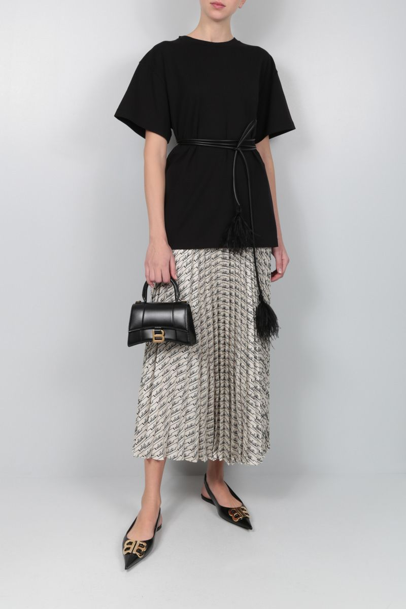 VALENTINO: Signature Stripes print silk pleated skirt Color Neutral_2