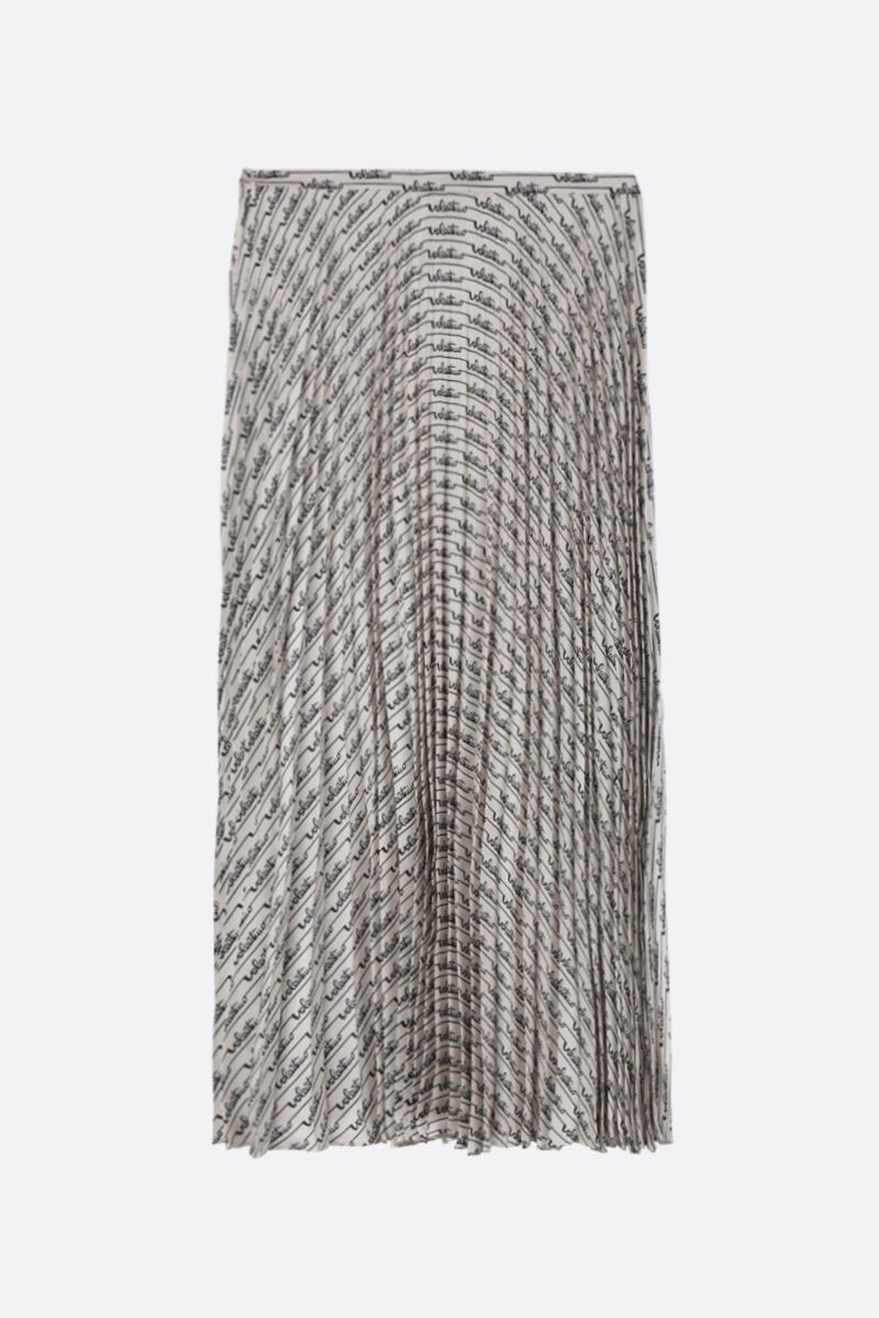 VALENTINO: Signature Stripes print silk pleated skirt Color Neutral_3