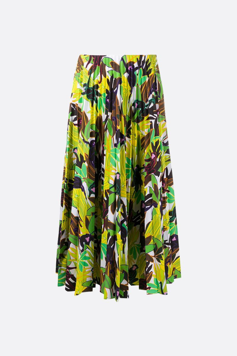 VALENTINO: Monkeys Forest print cotton pleated skirt Color Multicolor_1